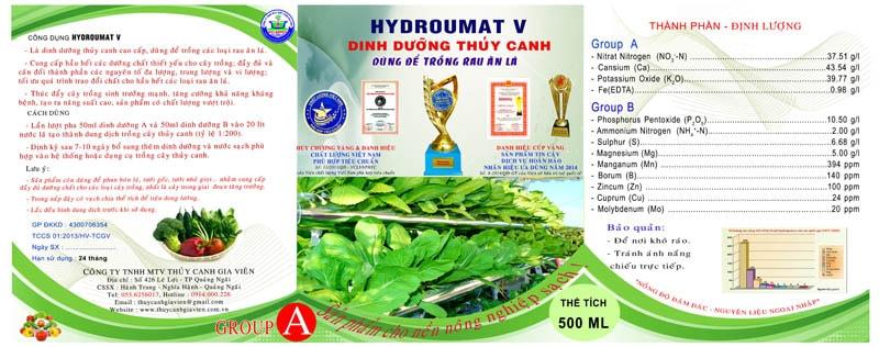 HYDRO UMAT V- Dung dịch thủy canh sử dụng cho rau ăn lá