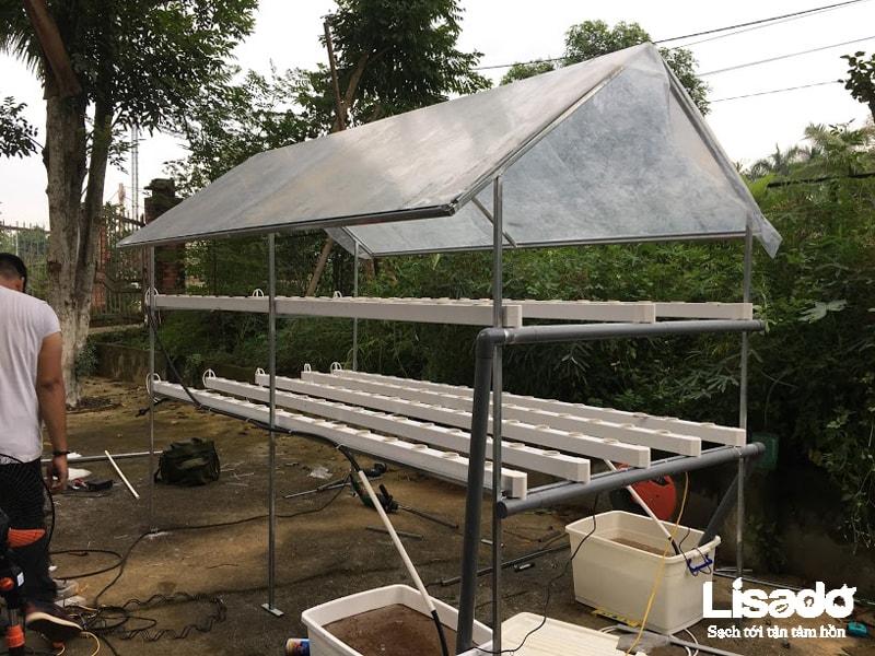 Công trình trồng rau sạch thủy canh nhà cô Mai – Láng Hòa Lạc