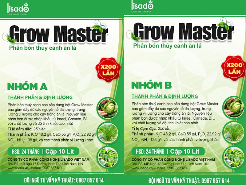 Ưu điểm của phân bón thủy canh ăn lá Grow Master