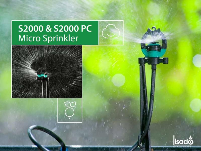 Béc tưới phun mưa S2000 + khớp nối ống 21mm có bù áp – Rivulis (Israel)