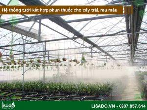 Hệ thống tưới kết hợp phun thuốc cho cây trái, rau màu