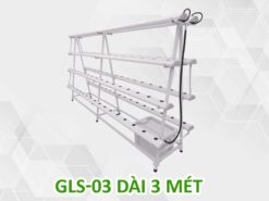 Giàn trồng rau thủy canh chữ A GLS-03 dài 3 mét 4 tầng 8 ống