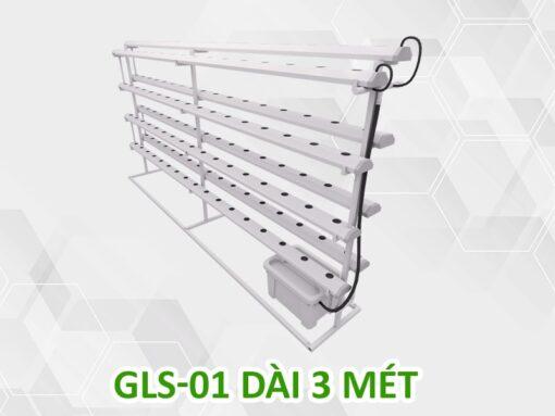 Giàn trồng rau thủy canh tay đỡ GLS-01 dài 3 mét 4 tầng 8 ống