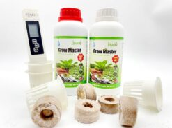 01 cặp dung dịch Grow Master 500ml, 10 viên nén xơ dừa, 10 rọ nhựa, 1 bút đo TDS